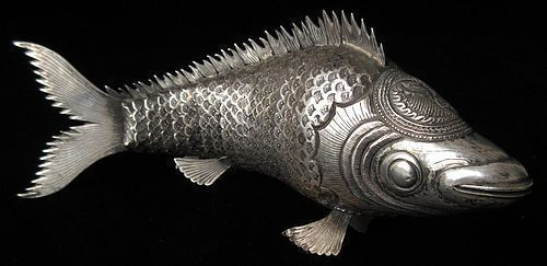 Antique Chinese Silver Articulated Fish with Signature