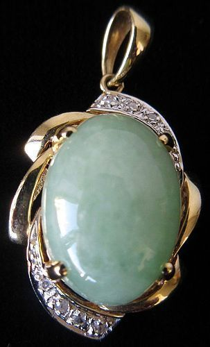 Chinese Jade Pendant in 14K Gold