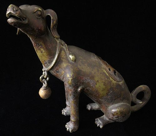 Antique Japanese Bronze Dog Incenser