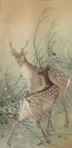 Incredible Antique Japanese Large Scroll Painting of Deer