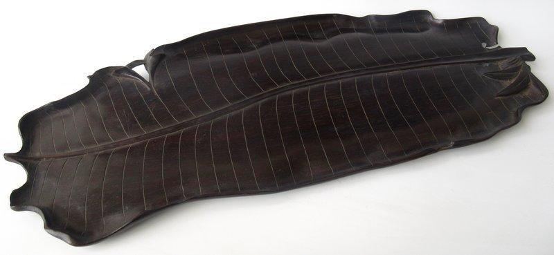 Antique Japanese Zitan Banana Leaf Tray