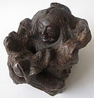 Japanese Burl Wood Carving of Man and Frog