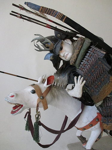 Japanese Edo Period Pair of Samurai Dolls on Horseback
