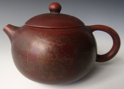 Antique Chinese Yixing Red Teapot with Lotus