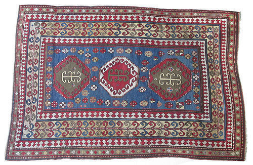Kazak Hand Knotted Rug with Blue and Red