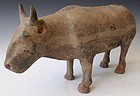 Antique Chinese Han Dynasty Tomb Pottery Ox Figure