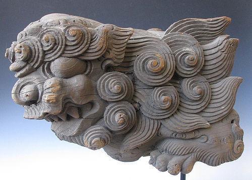 Japanese Edo Period Temple Carving of a Fu-dog