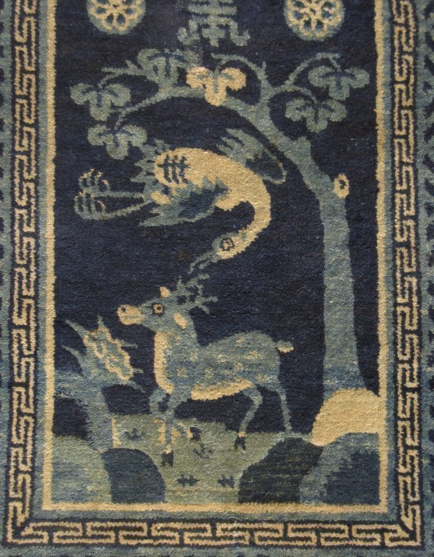Chinese Pao Tao Peking Rug w/ Deer and Crane