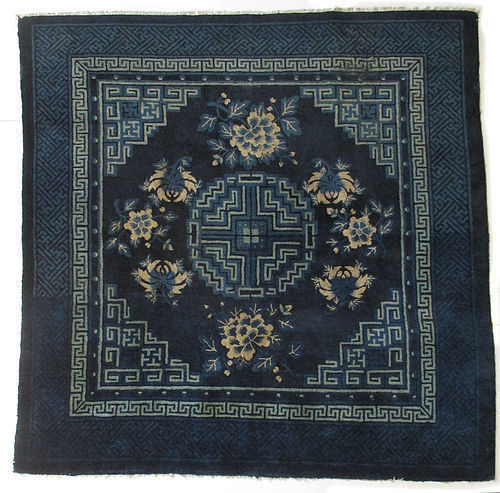 Chinese 19th Century Blue Peking Rug with Peonies