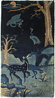 Chinese 19th Century Blue Peking Rug with Deer and Cranes
