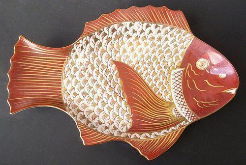 Japanese Set of Six Kutani Ware Fish Plates