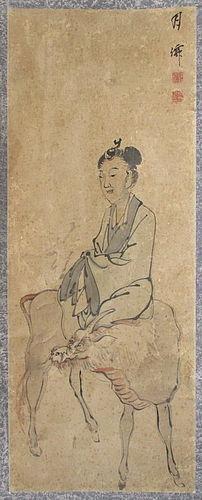 Japanese 18th Century Scroll Painting of Maiden on Kirin