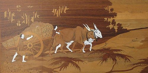 Vietnamese Hardwood Inlay Wall Art with Huanghuali Frame
