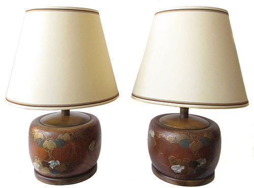 Pair of Japanese Lamps with Makie Lacquer and Inlay