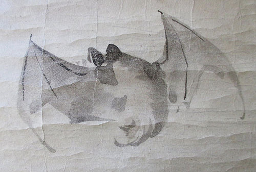 Japanese 18th Century Fan Painting with Bat