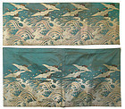 Antique Japanese Set of Two Silk Panels with Flying Cranes