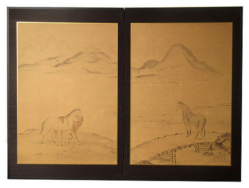 Antique Japanese Two Panel Screen with Horses