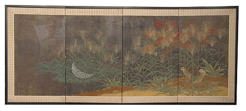 Japanese Four Panel Screen with Quails