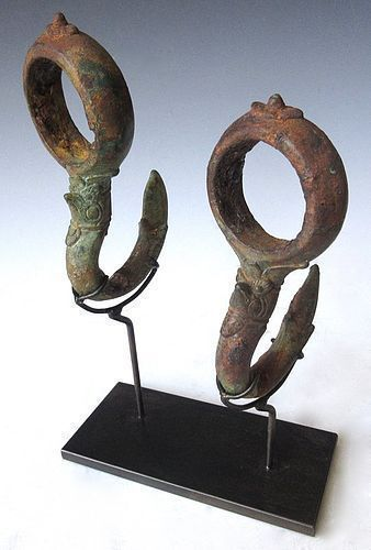 14th Century pair of Cambodian Bronze Hooks