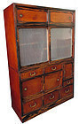 Antique Japanese Two Section Cha Tansu w/ Glass Doors