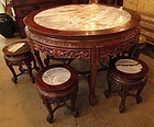 Chinese Round Marble Top Table and Stool Set