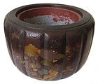 Antique Japanese Hibachi with Maki-E Gilt Lacquer and Inlay