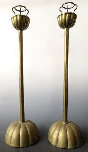 Japanese Pair of Bronze Candlesticks