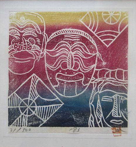 Korean Framed Woodblock Print of Colorful Masks
