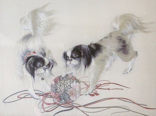 Exquisite Japanese Framed Silk Embroidery of Puppies