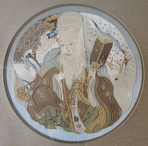 Beautiful Japanese Framed Silk Fukusa with Immortal God Jurojin