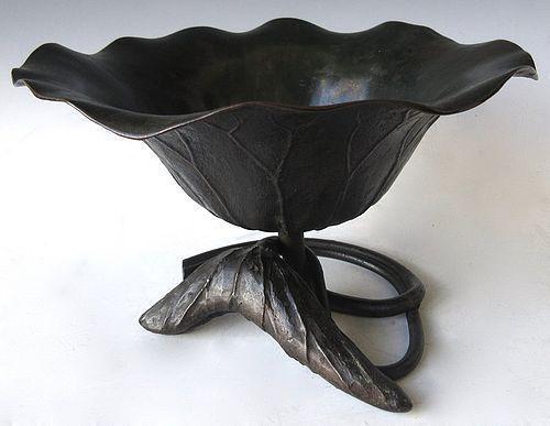Japanese Bronze Lotus Usubata