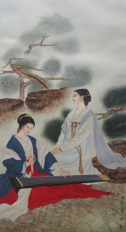 Chinese Painting of a Pair of Beauties, by Jingzhe Cui