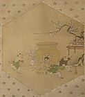 Antique Japanese Scroll Painting of Boys and Giant Sake Jar
