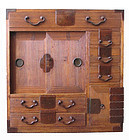 Japanese Antique Kiri Wood Personal Tansu