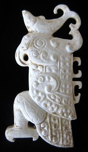 "Chinese Shang Dynasty ""Chicken Bone"" Jade Bird Carving"