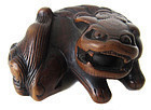 Antique Japanese Boxwood Fu Dog Netsuke