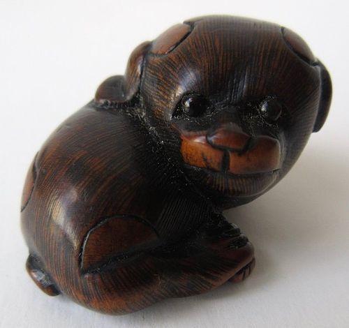 Antique Japanese Boxwood Puppy Netsuke