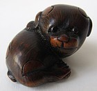 Antique Japanese Boxwood Puppy Netsuke