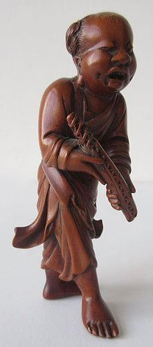 Antique Japanese Large Netsuke of a Walking Scholar