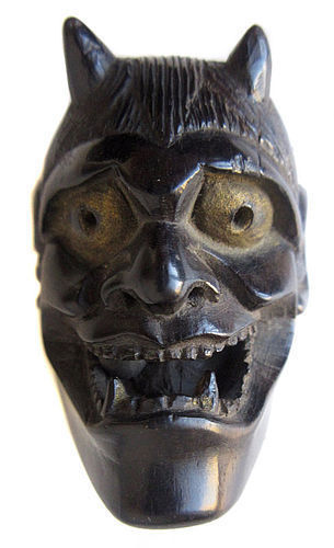 Antique Japanese Noh Hannya Mask Netsuke with Signature