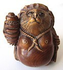 Antique Japanese Boxwood Tanuki Netsuke with Signature