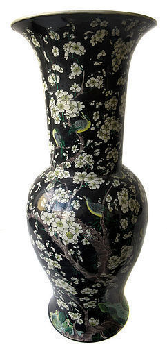 Large Antique Chinese Black Porcelain Vase with Birds and Flowers