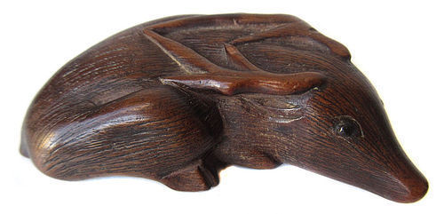 Antique Japanese Boxwood Deer Netsuke