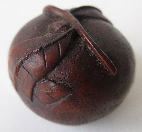 Antique Japanese Boxwood Persimmon Netsuke