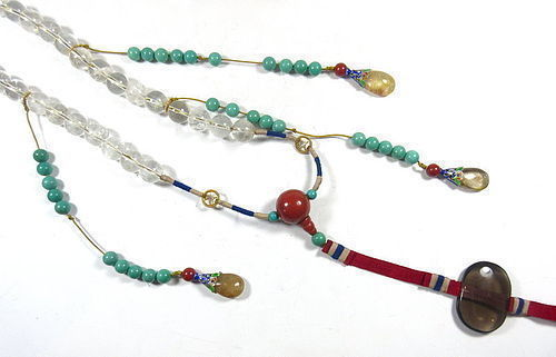 Chinese Long Hardstone Necklace with Jade and Cloisonne