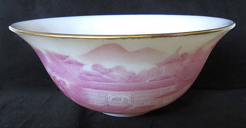 Chinese Peking Glass Bowl with Pink Landscape