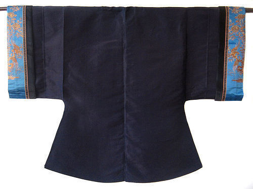 Antique Chinese Silk Robe with Gold Thread Sleeves