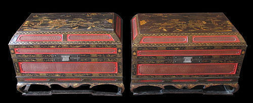 Rare Chinese Pair of Imperial Lacquer Storage Trunks