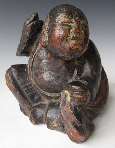 Japanese Edo Wood Lacquer Carving of Hotei