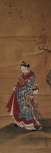 Antique Japanese Scroll Painting of Beauties